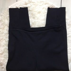 St.John Navy Blue Slim Straight Leg Dress Pants